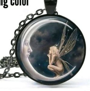 Glass Cabochon Moon Fairy necklace